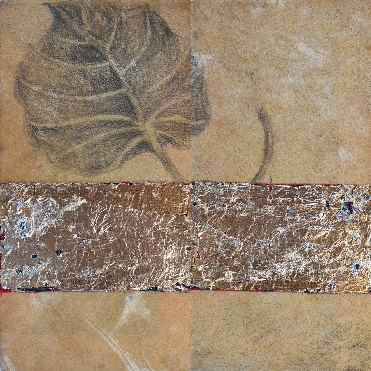 Título: Hoja Triste  Técnica: Oleo, grafito y hoja de plata/pergamino      Medidas: 20 x 20 cm