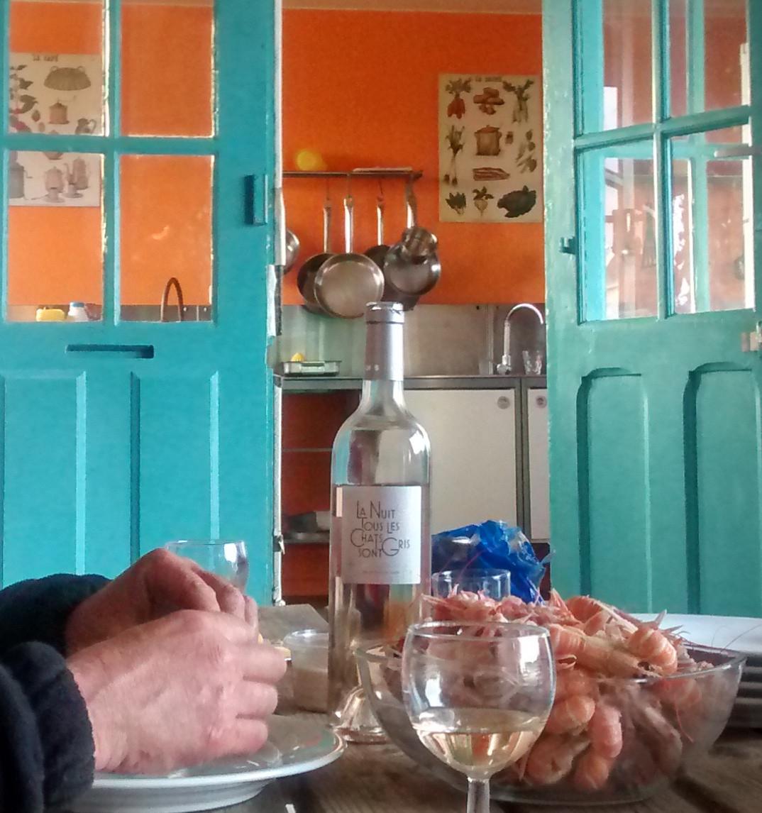 la cuisine vue du préau