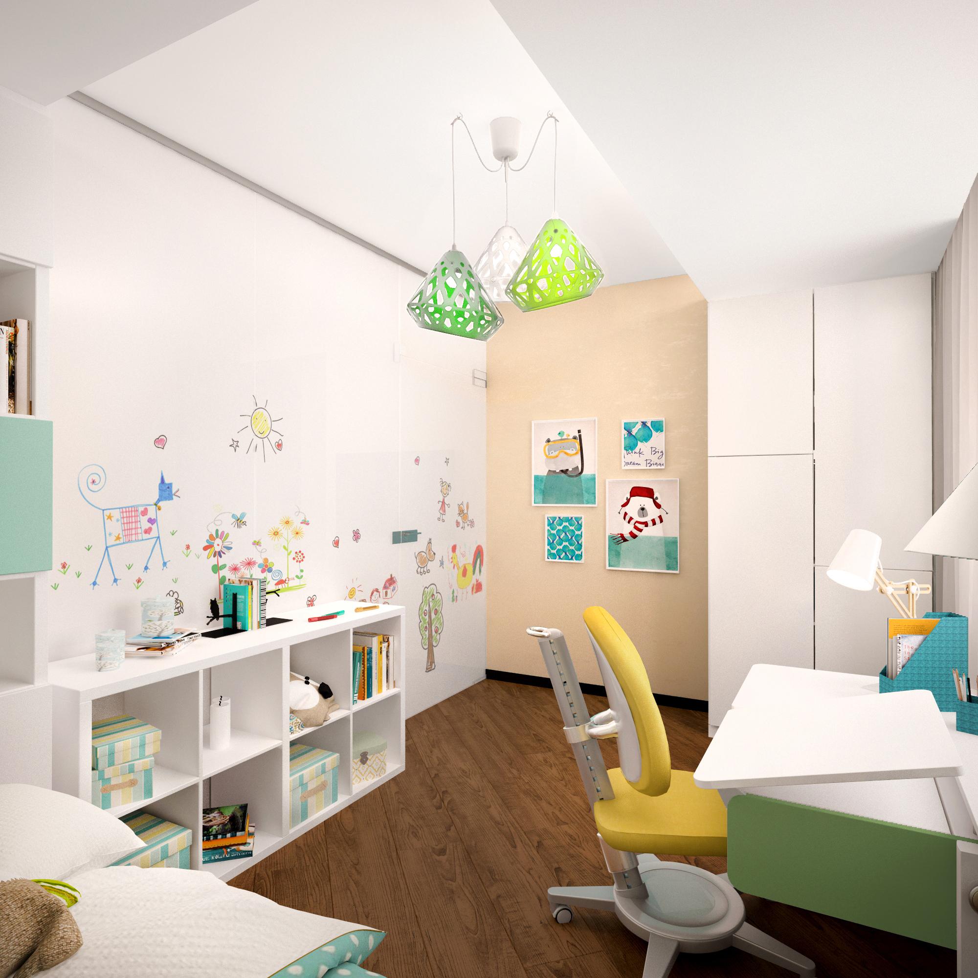 Детскую комнату украшает трехцветная люстра ZAHA LIGHT. Рендер.