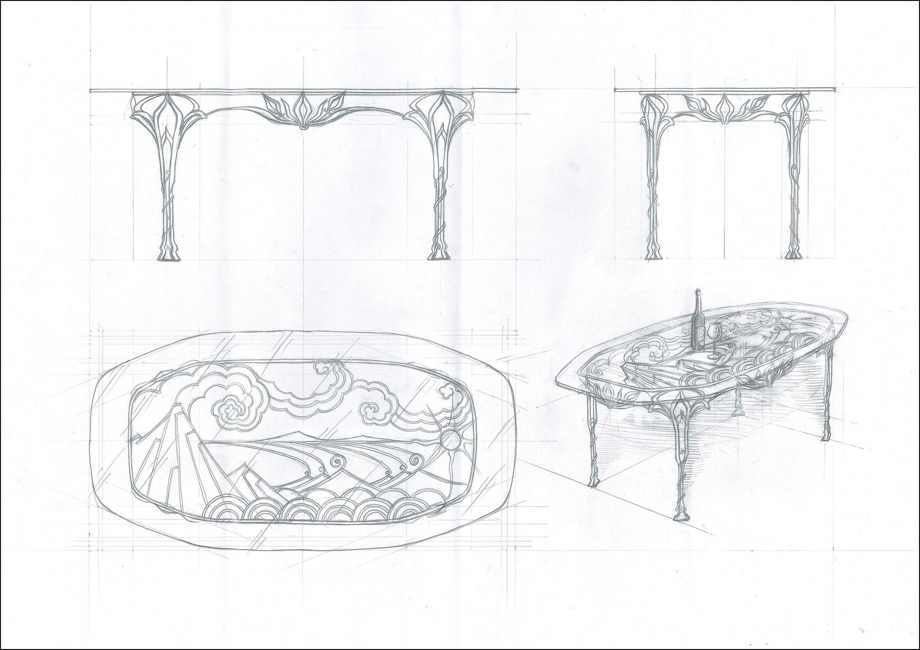 """Стол обеденный овальный """"Лотос"""". Стеклянная столешница  с кованой опорой.Ручная художественная ковка. Размеры 1980x1000"""