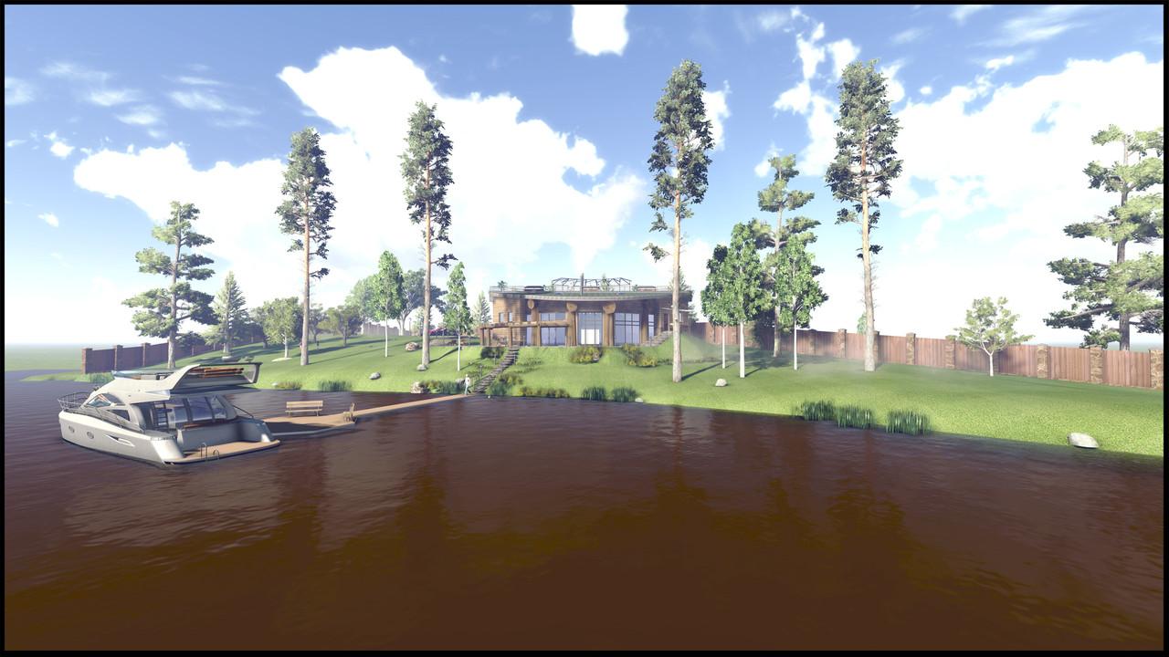 Проект частного банного комплекса на склоне у озера.