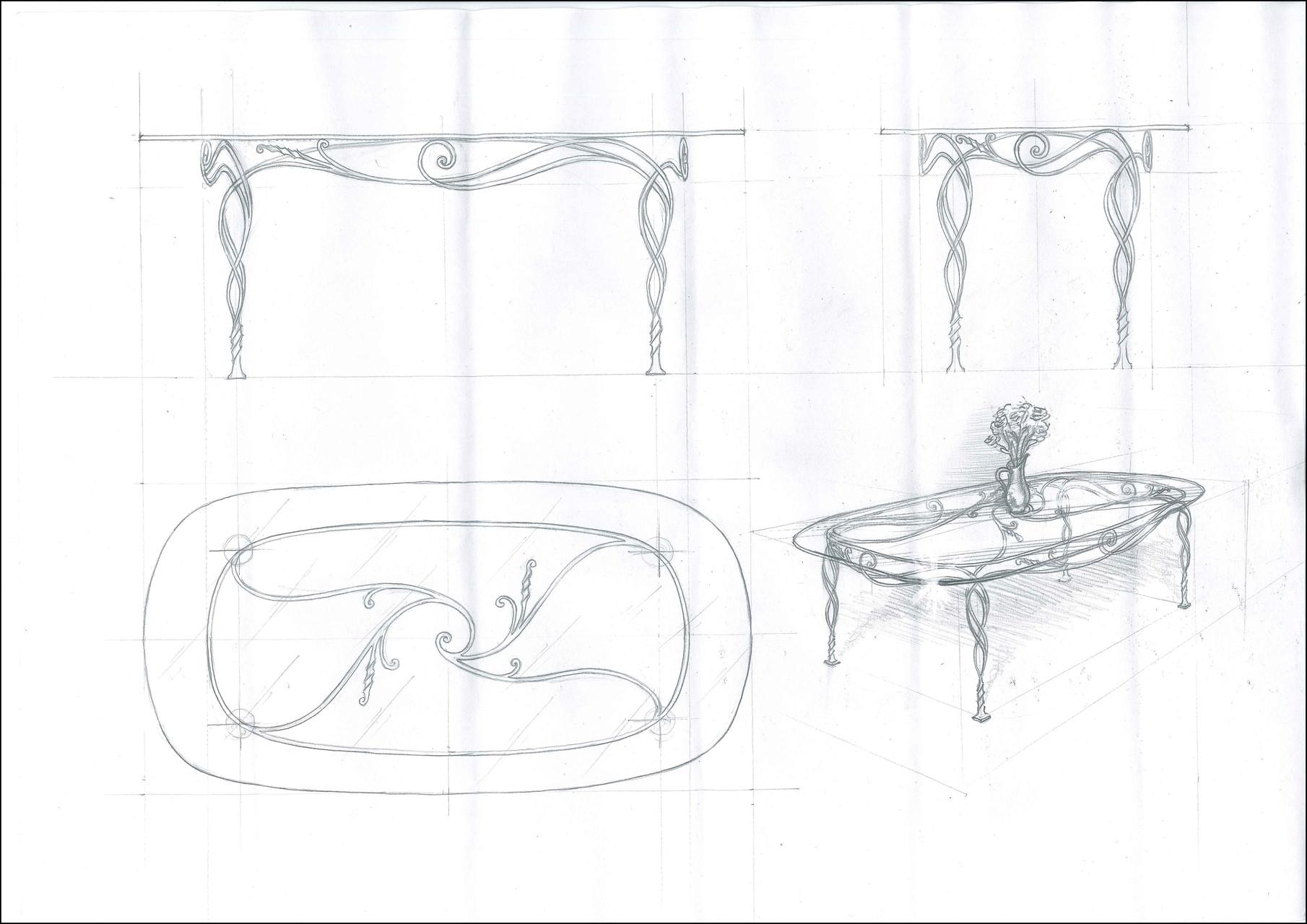 """Стол обеденный овальный """"Увертюра"""". Стеклянная столешница  с кованой опорой.Ручная художественная ковка. Размеры 1980x1000"""