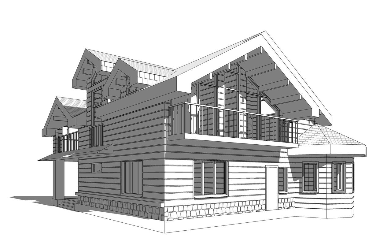 Проект частного дома. Вид на балкон.