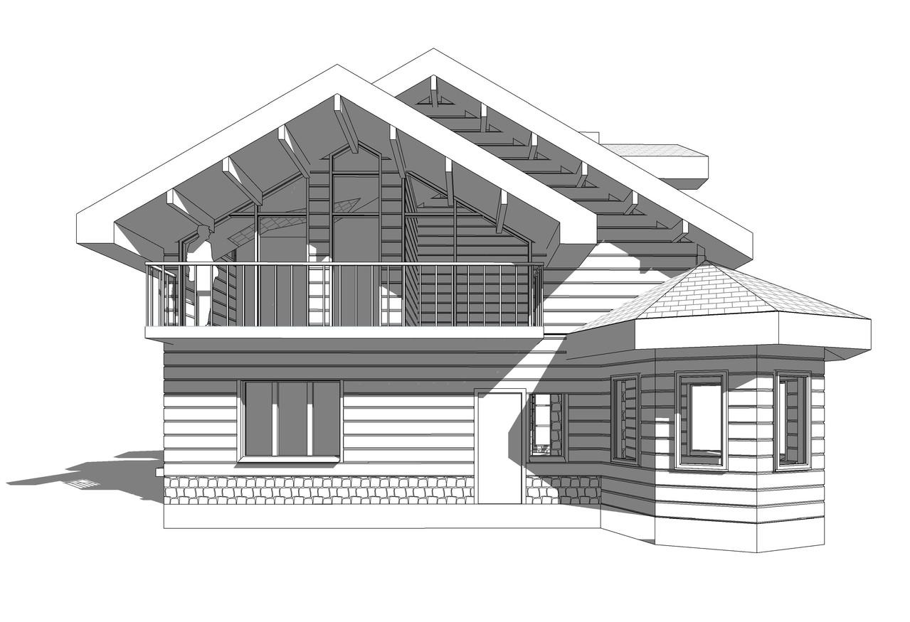 Частный дом из бруса. Западный фасад.