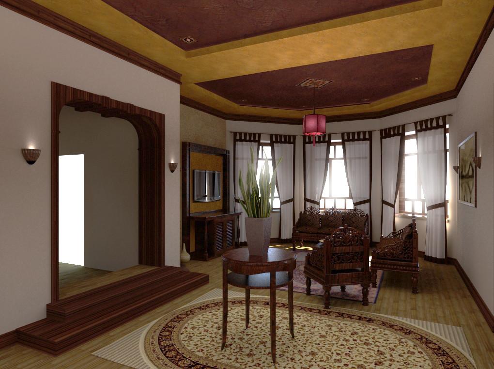 Вид на гостиную в эркере. Дизайн-Проект ИНТЕРЬЕРА В ВЪЕТНАМСКОМ СТИЛЕ