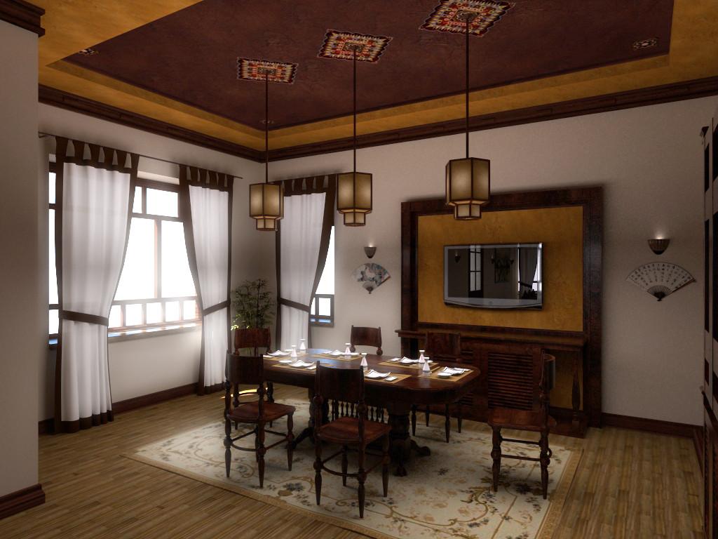 Вид 2 на столовую. Дизайн-Проект ИНТЕРЬЕРА В ВЪЕТНАМСКОМ СТИЛЕ
