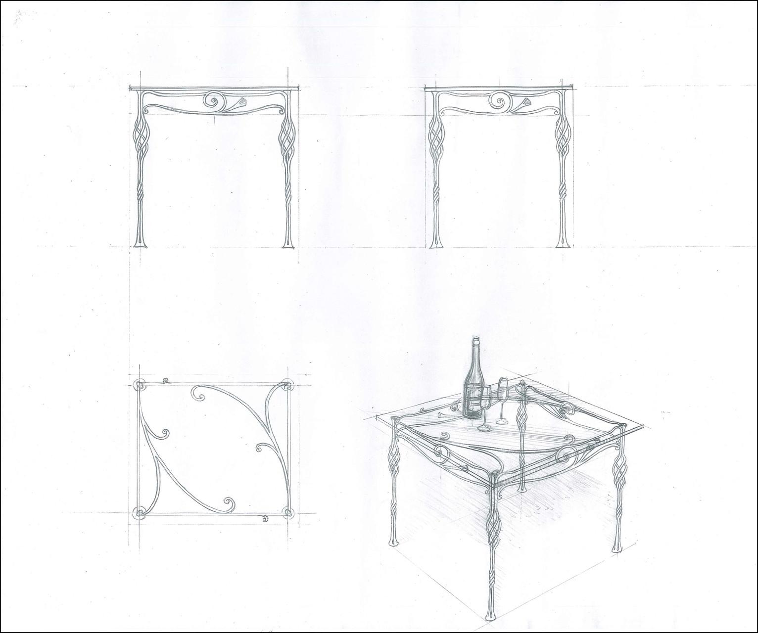 """Стол обеденный прямоугольный """"Увертюра. Малый"""". Стеклянная столешница  с кованой опорой.Ручная художественная ковка. Размеры 800x700."""
