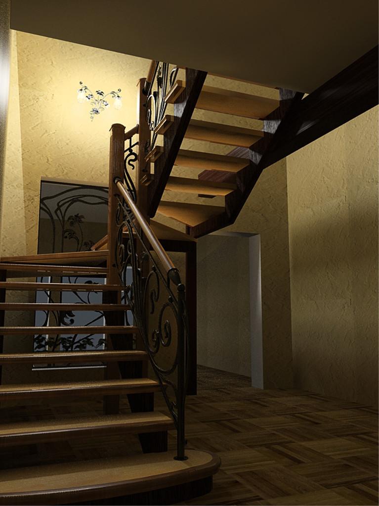 Кованое бра в пространстве лестницы. Вид .2