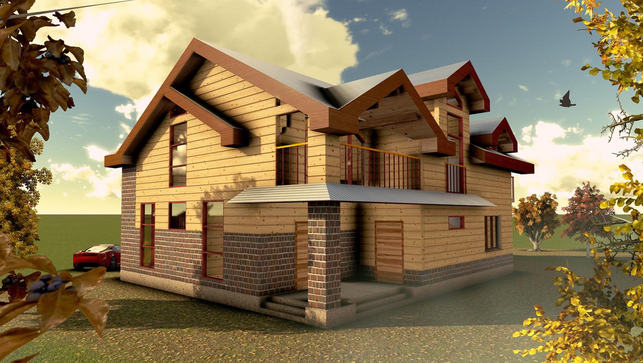 Частный дом из бруса от архитектора. Фасад со стороны сада.