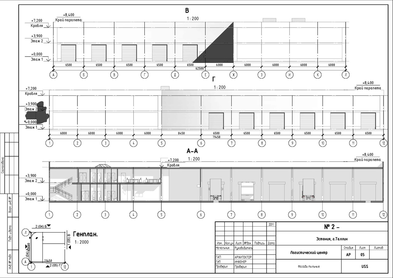 Фасад 2. Проект ЛОГИСТИЧЕСКОГО ЦЕНТРА в Таллине.