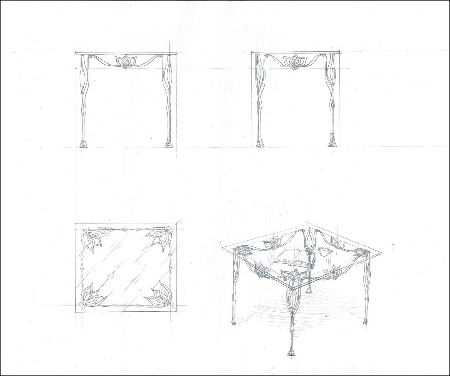 """Стол обеденный прямоугольный """"Лотос. Малый"""". Стеклянная столешница  с кованой опорой.Ручная художественная ковка. Размеры 800x700."""