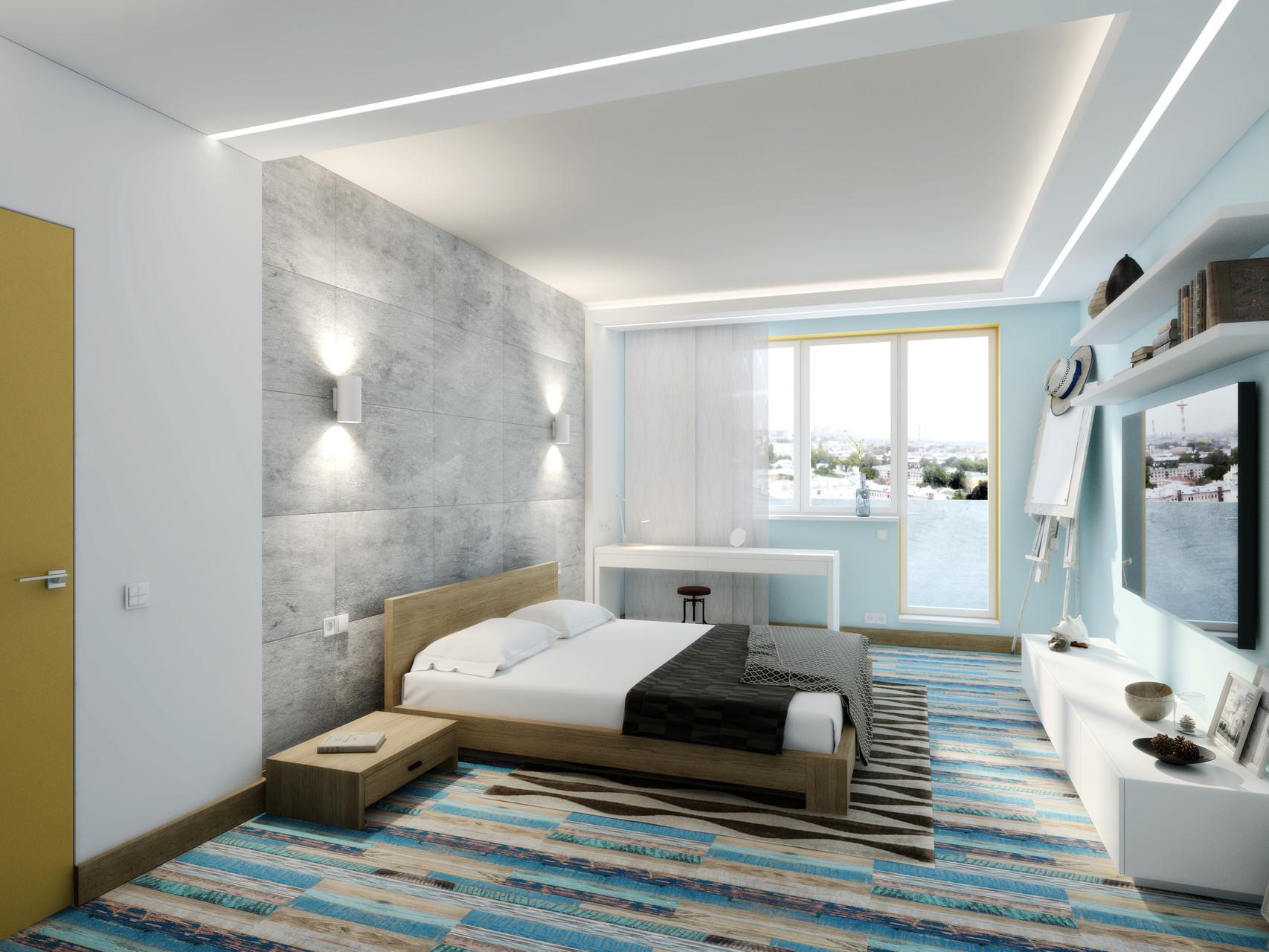 Лофт- фьюжен в дизайне спальни