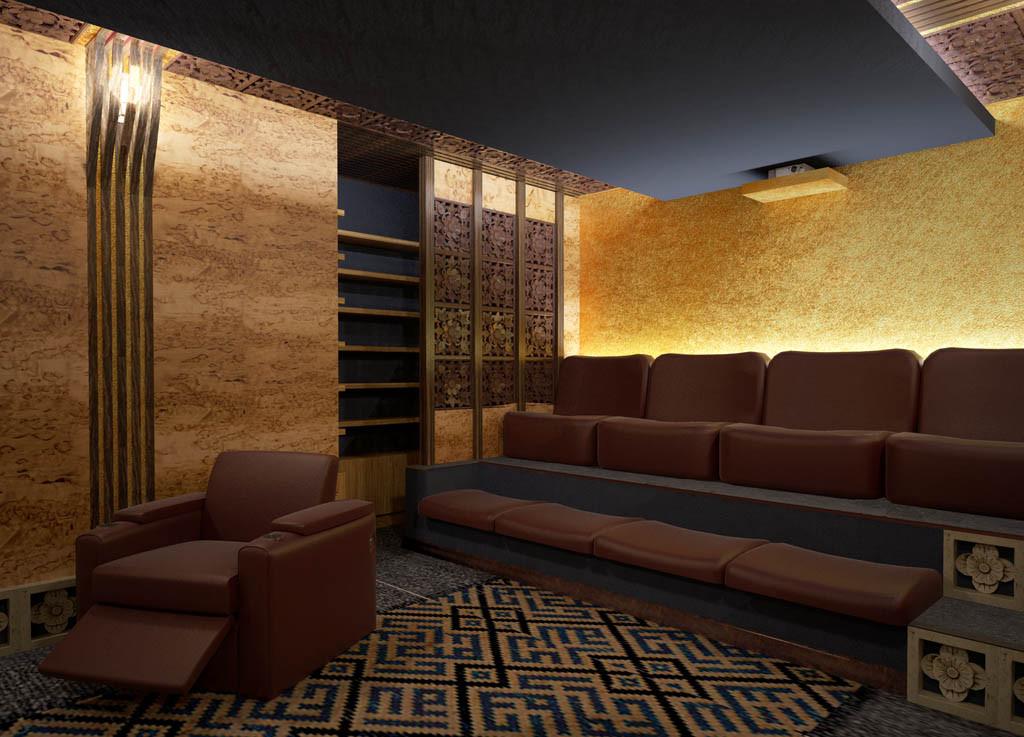ВИД НА МЕДИАТЕКУ. Кинозал в частном доме. Дизайн проект.