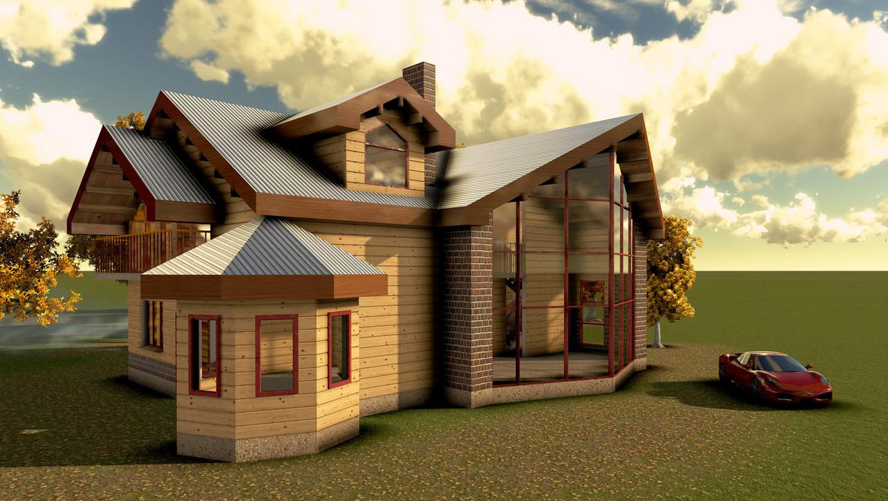 Частный дом с панорамным остеклением гостинной.