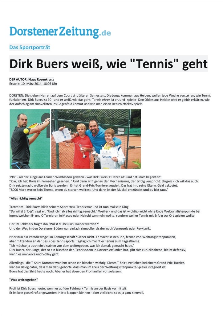 Headcoach Dirk Buers