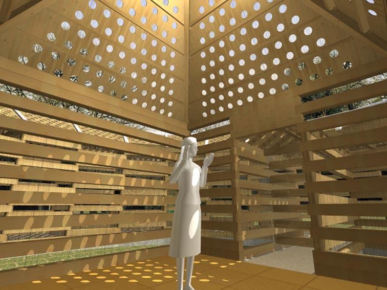 中央の小部屋の地中には埋炭を施して気場に仕立て、  静的な瞑想空間としています。  瞑想中は(まぶたの裏や皮膚感覚で)太陽の動きも体感できます。