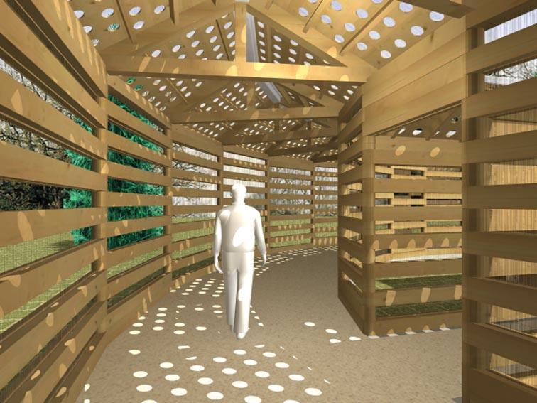 周辺回廊は動的な歩行瞑想空間として、  中央の小部屋の静的な瞑想空間と   陰陽の関係に対極させています。
