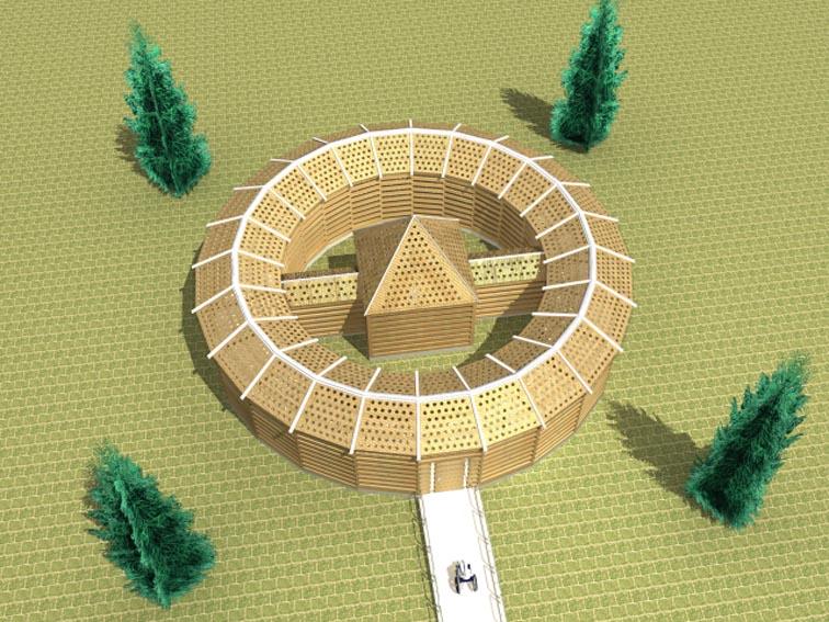 イヤシロチを構成するとされる要素から宗教的な色合いを無くしてミニマルに組み立てました。  敷地四隅の針葉樹はトガリサホで建物中央の四角錐屋根をタカミムスビに位置づけています。