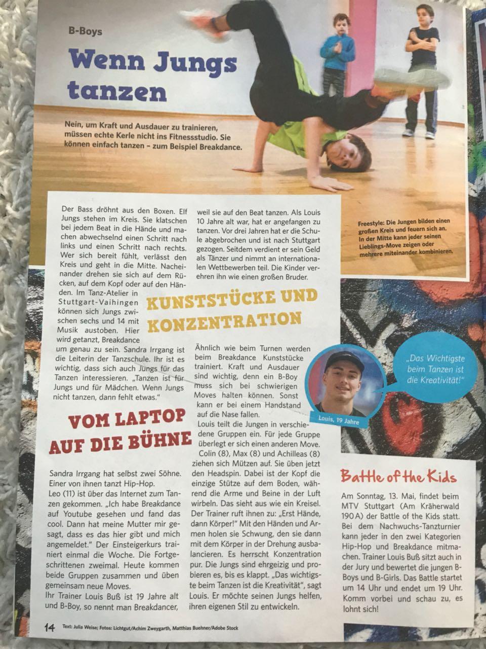 Die Stuttgarter Kinderzeitung zu Gast bei unseren B-Boys