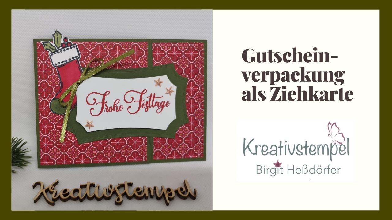 Gutscheinverpackung als Ziehkarte Weihnachten im Herzen