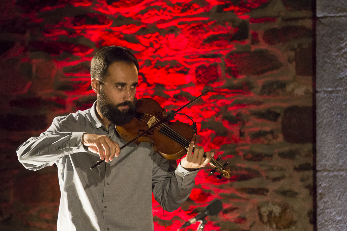 Alix Boivert au violon baroque, By moonlight on the green, The Curious Bards, Conques, Aveyron, 2020 ©George Berte