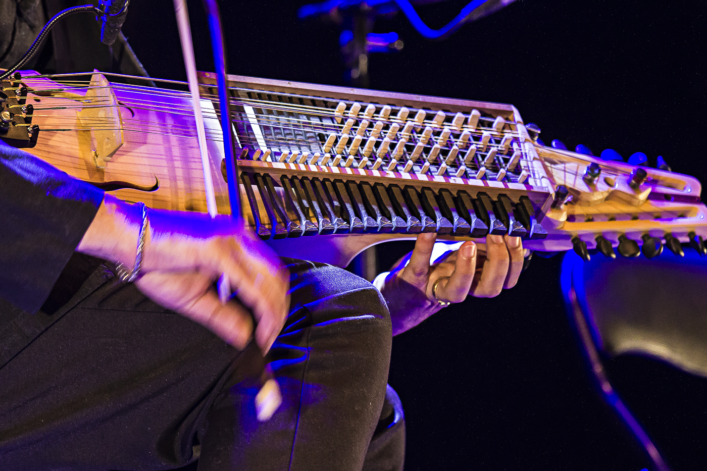 Le nyckelharpa, vièle scandinave, d'Aliocha, Brothers of string, Mathias Duplessy & les Violons du Monde, Conques, Aveyron, 2020 ©George Berte