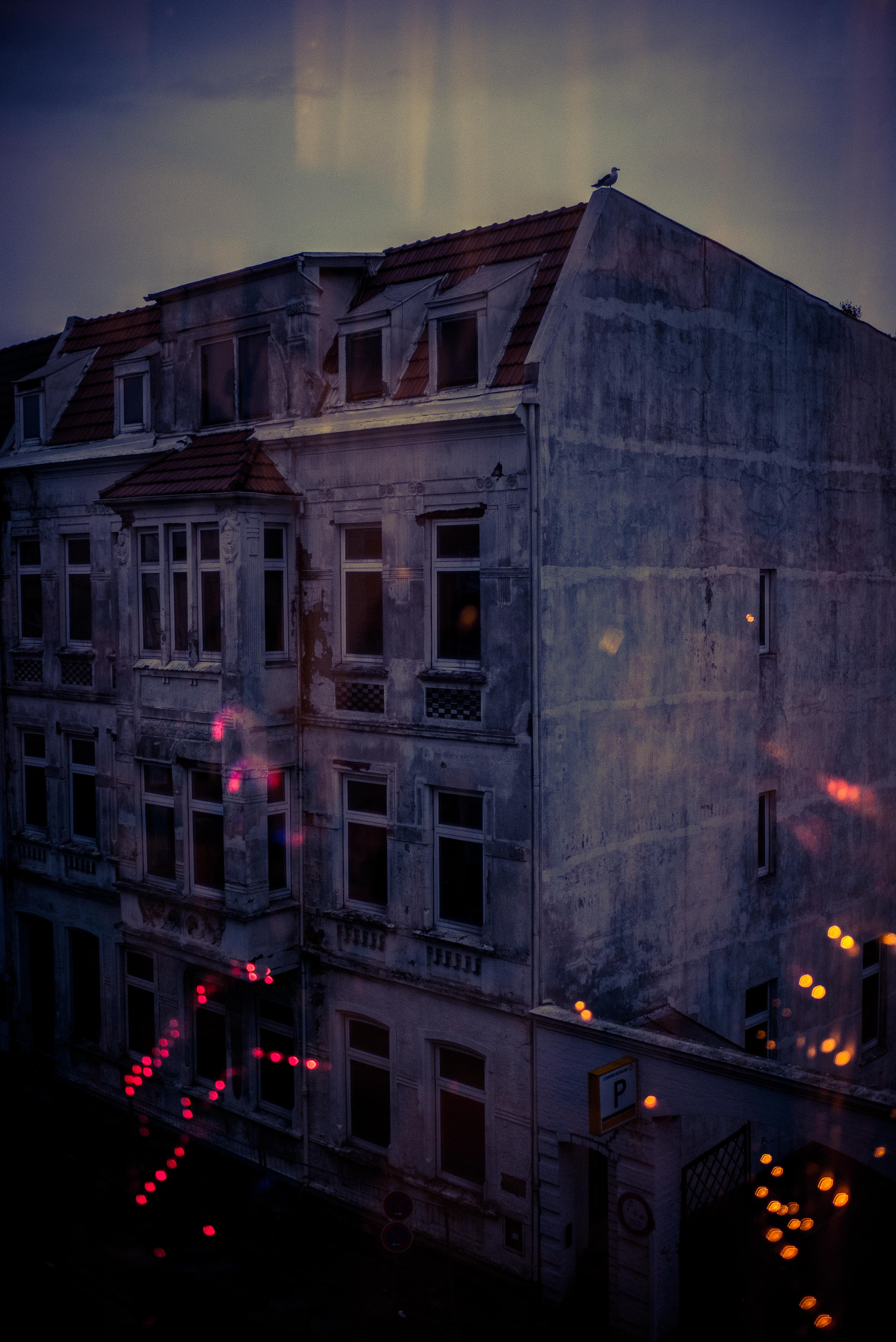 Blick auf dem Fenster verlassenes Gebäude mit Möwe auf dem Giebel
