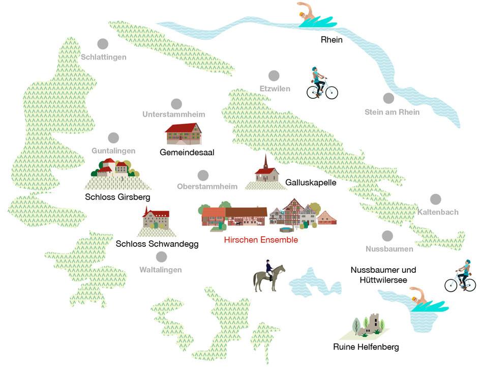 Übersicht Stammertal im Zürcher Weinland mit geschützter Kulturlandschaft und schützenswerten Ortsbildern.