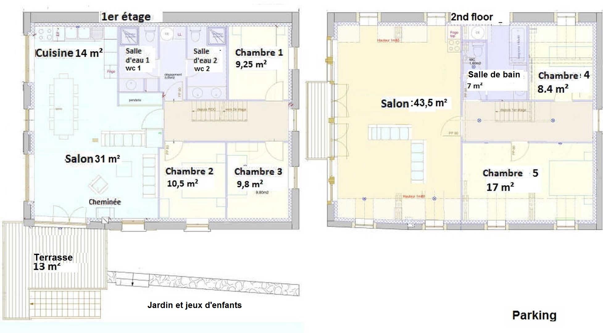 Gîte de Belledonne 1 : plan des deux étages