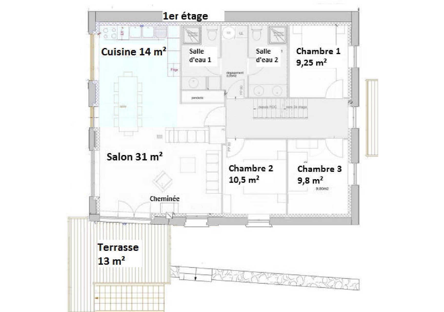 pan du premier étage