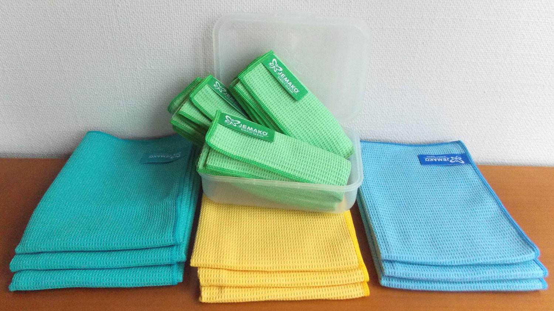 Trockentuch klein  - gelb, blau, grün, türkis, inkl. Klickbox