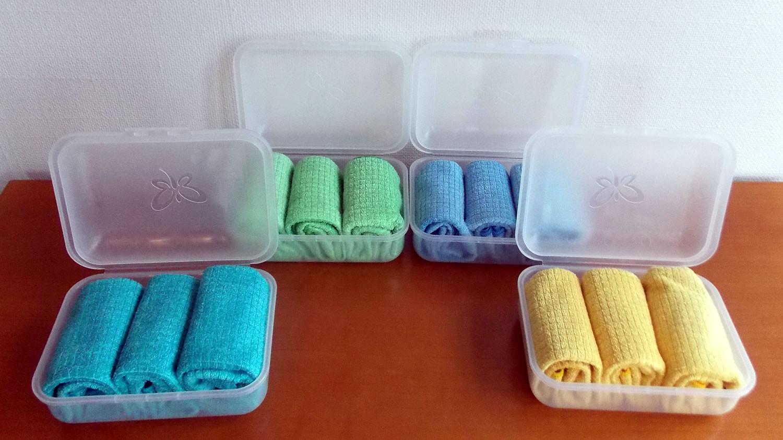 Profituch klein - gelb, blau, grün, türkis, inkl. Klickbox
