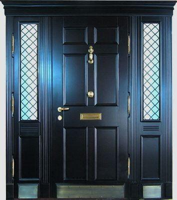 Филенчатая металлическая дверь вставки с двух сторон+стеклопакет.