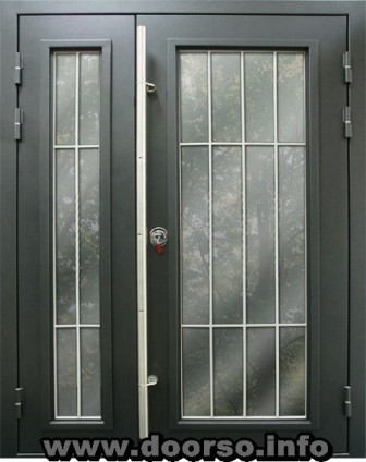 двухстворчатые металлические двери со стеклопакетом.