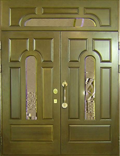 филенчатая металлическая дверь+стеклопакет.