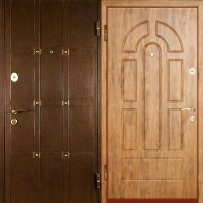металлическая дверь с кованными элементами+мдф.