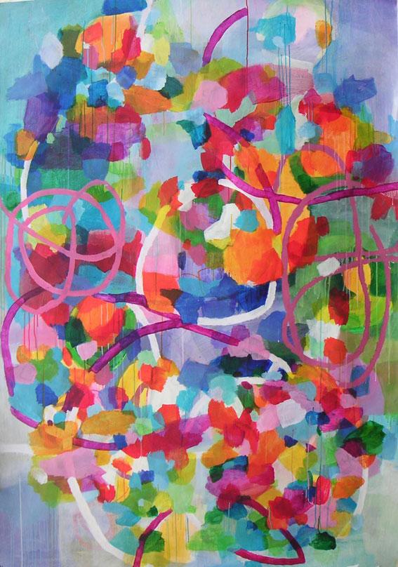 ohne Titel, 213 x 145 cm, Mischtechnik auf Papier, 2003