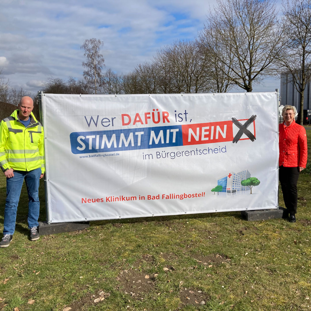 Banner für den Bürgerentscheid zum Heidekreisklinikum für die Stadt Bad Fallingbostel