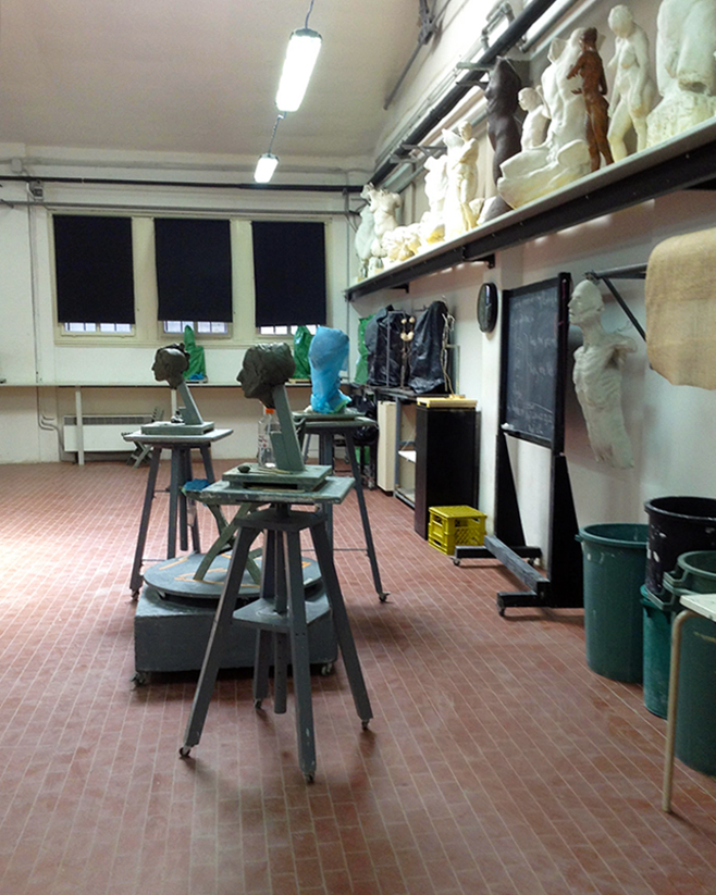 Studio space on the campus of The Florence Academy of Art Sculpture Program