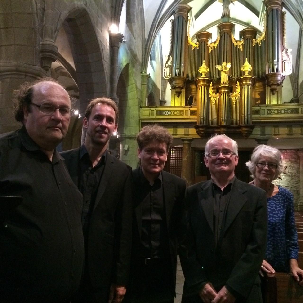 Juste avant le concert, le Trio Astria en compagnie d'Olivier Thuault et de Martine Darinot
