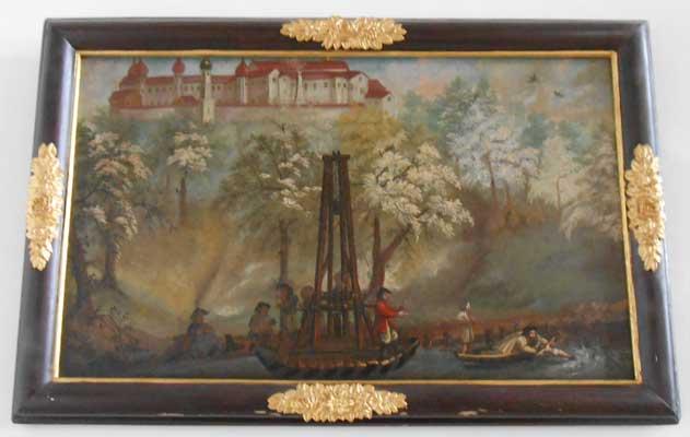 """Eines der Bilder in Kloster Attel, die die Auffindung und den Wallfahrtskult um das Kreuz zum """"Herrn in Elend"""" darstellen."""