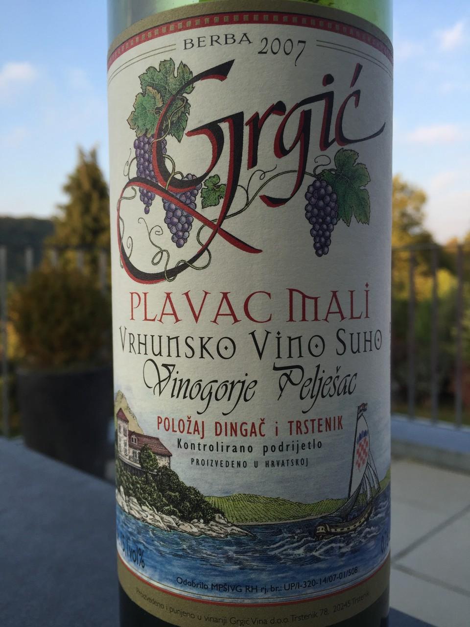 Plavac Mali, Grigic, 2007