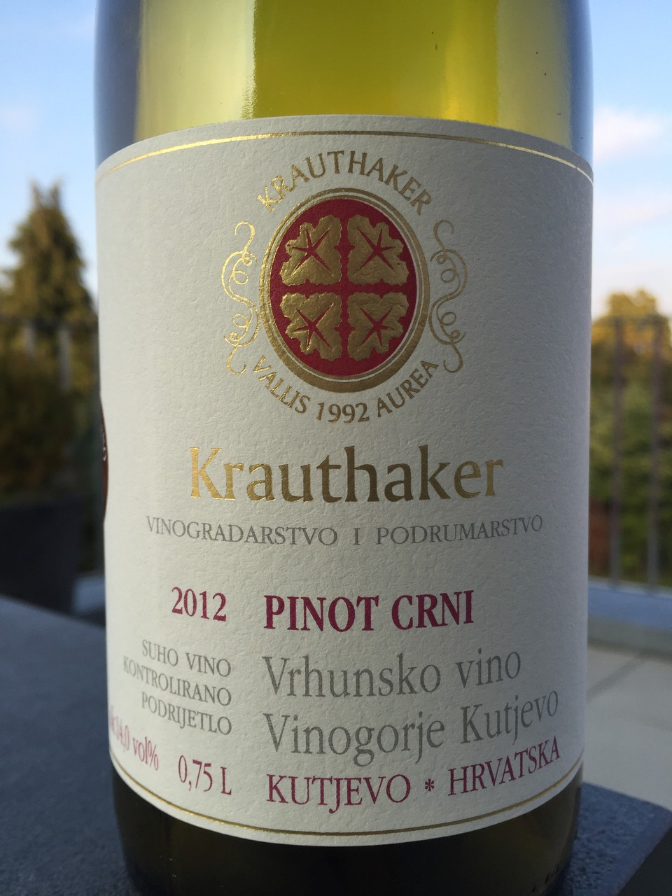 Pinot Crni, Krauthaker, 2012