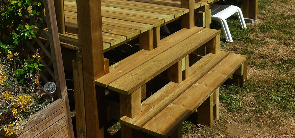 Escalier pour terrasse mobil home ID Plein Air