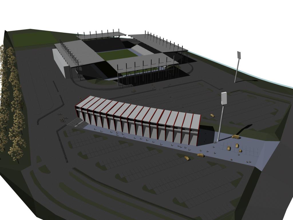 Vogelperspektive übers neue (alte) Stadion-Gelände aus Südost