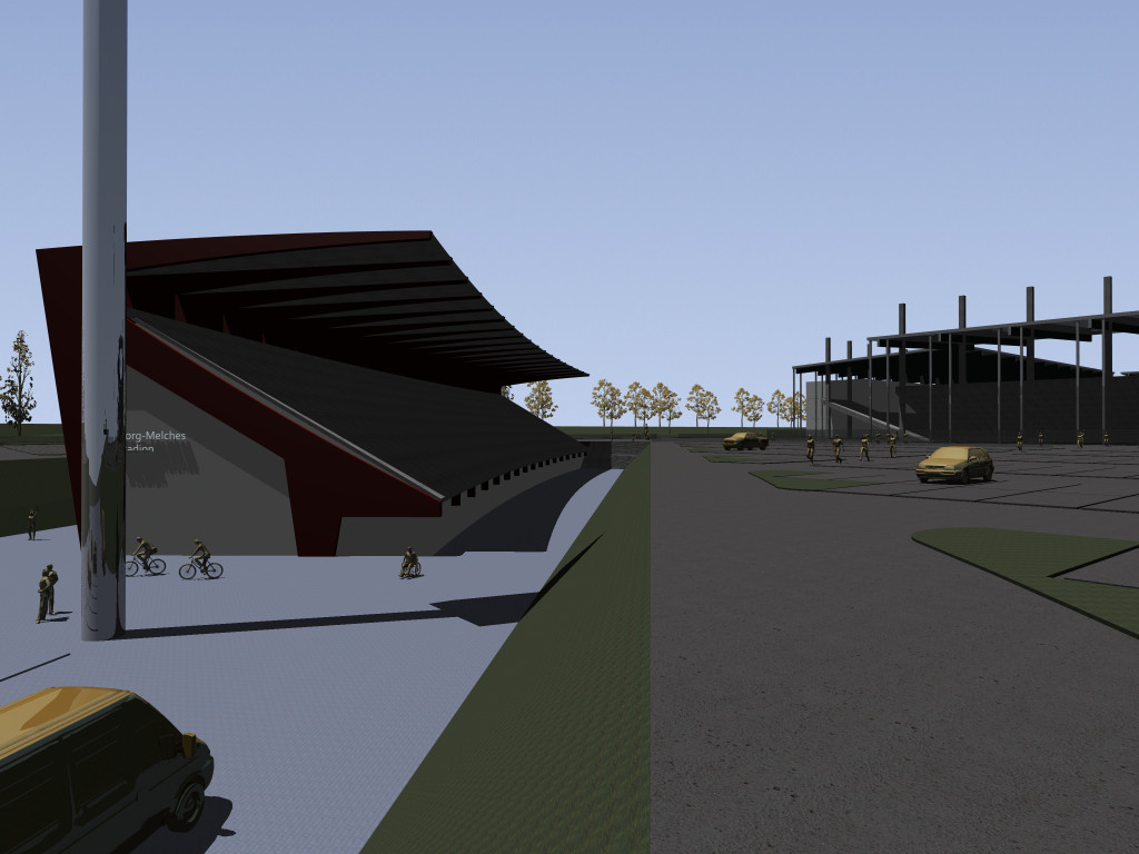 Rückseite Melches-Tribüne mit Treppenanlage zum Neubau