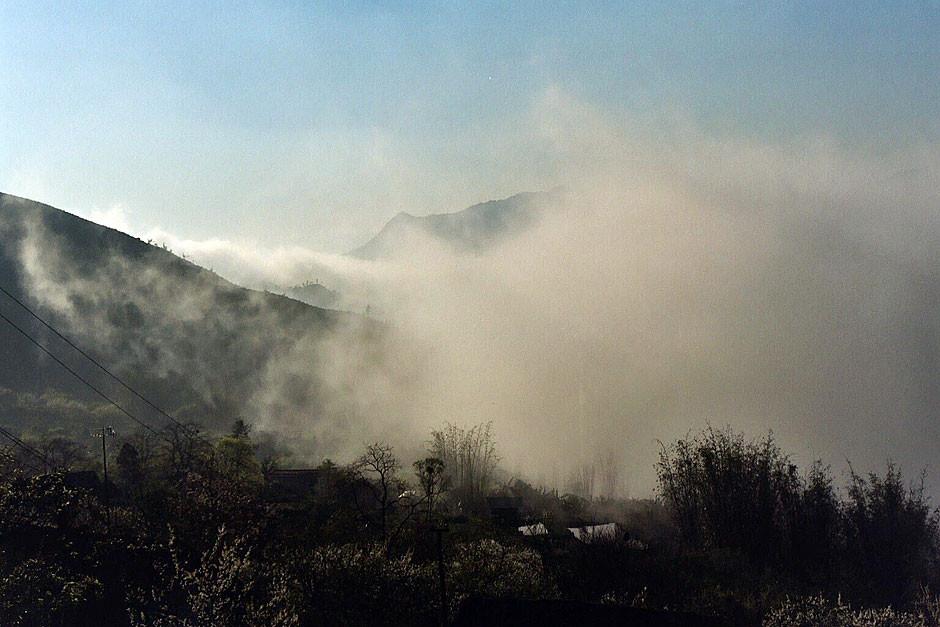 Sa Pa am frûhen morgen wenn die Nebel aus den Tälern aufsteigen.