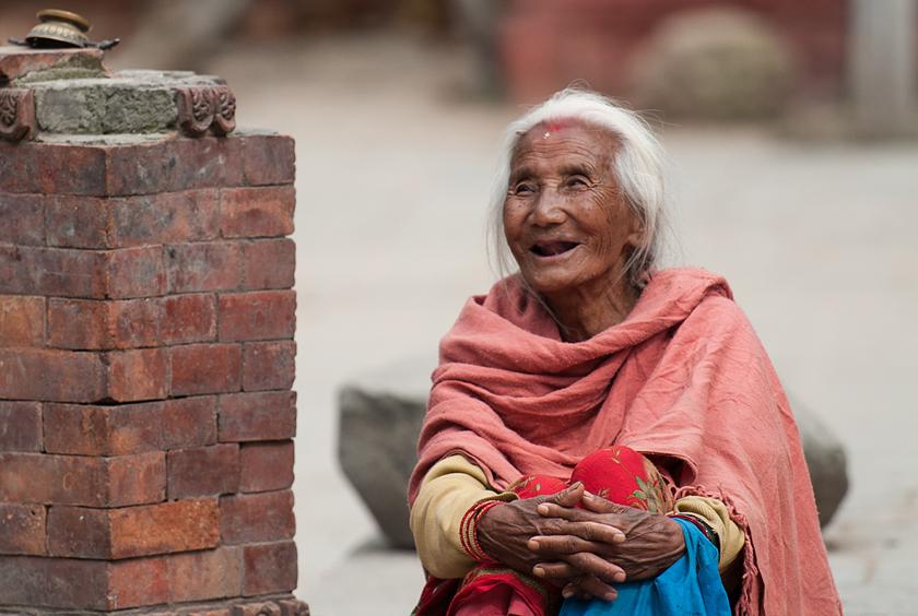 Glückliche alte Frau, Kathmandu, Nepal