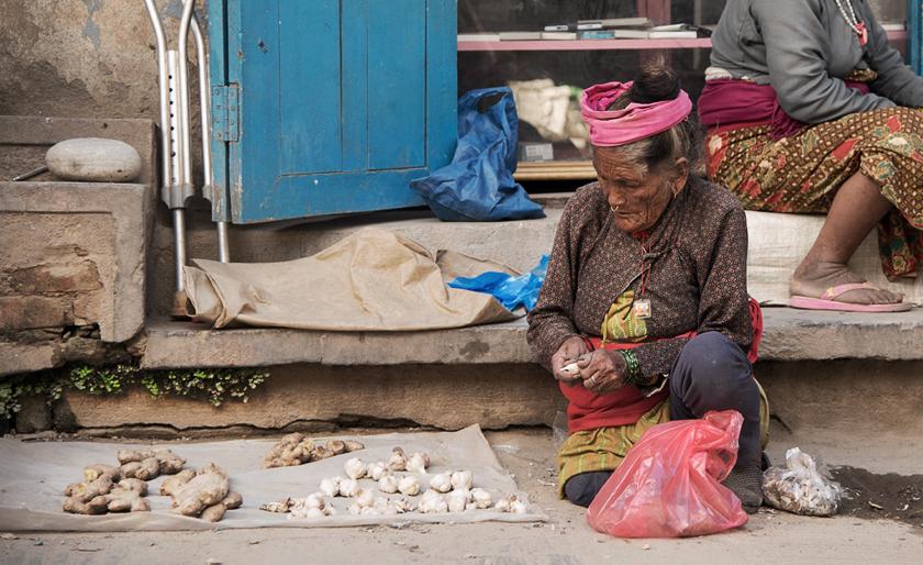 Ingwer, Knoblauchverkauf, Kathmandu, Nepal