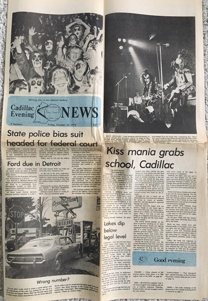 Front Page of the Cadillac News -- October 10, 1975 -- KISS Mania grabs school